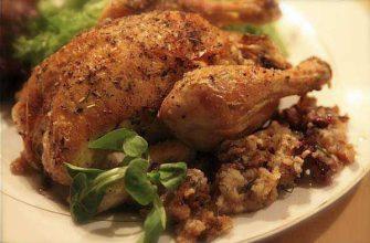 Фаршированная курица с рисом и кедровыми орешками